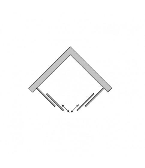 Cabina de dus Sanswiss, Ocelia, patrata, 80 x 80 cm, cu acces pe colt, crom lucios