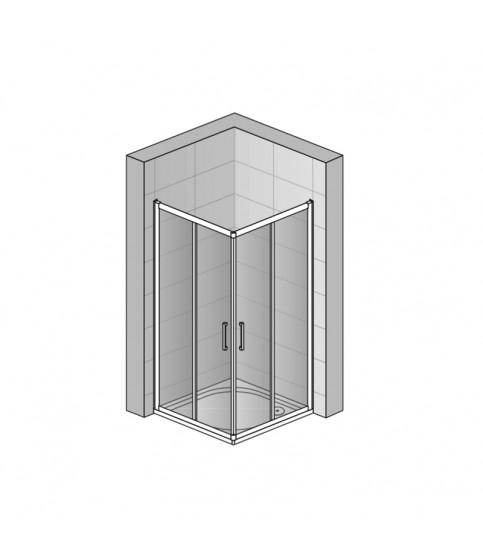 Set cabina de dus Sanswiss, Ocelia, patrata 90 x 90 cm, cu acces pe colt + cadita patrata 90 cm, crom lucios