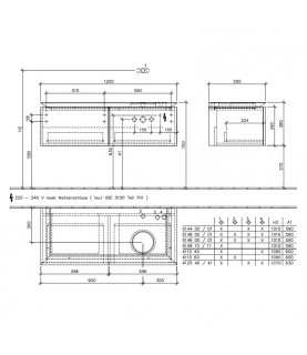 Mobilier Villeroy & Boch, Legato, 120 cm, suspendat pentru lavoar pe dreapta, cu iluminare, elm impresso