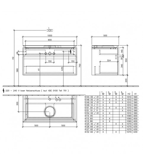 Mobilier Villeroy & Boch, Legato, suspendat pentru lavoar, 2 sertare, 100 cm, elm impresso