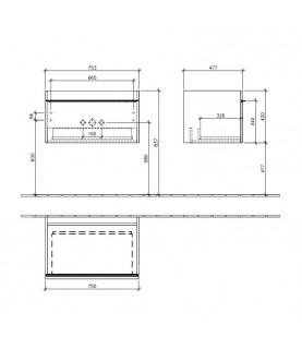 Mobilier Villeroy & Boch, Venticello, 75 cm, gri lucios