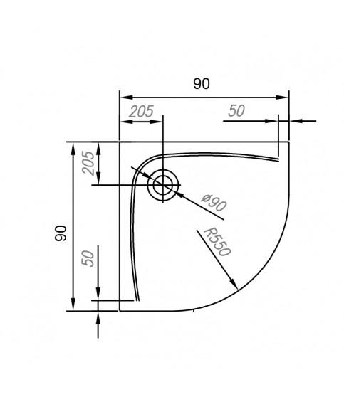 Cadita de dus semirotunda KolpaSan, Evelin R, cu masca, 90 x 90 cm, R55, acril
