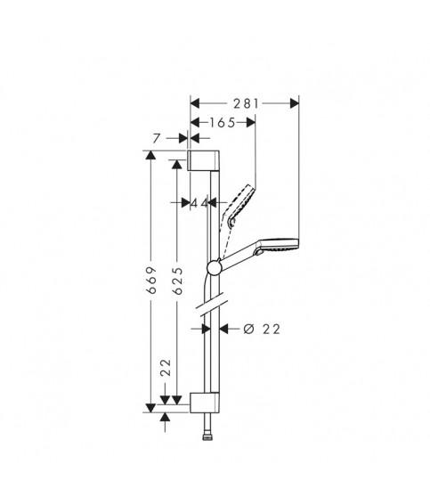 Set de dus Hansgrohe, Crometta Vario Unica, cu bara de 65 cm, 2 jeturi