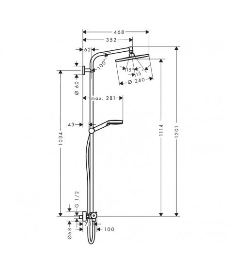 Coloana de dus termostata Hansgrohe, Crometta S240, crom