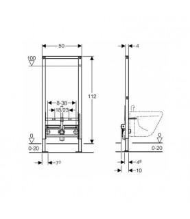 Rama Geberit Duofix, pentru bideu, 112 cm, universal