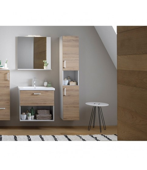Oglinda cu etajera KolpaSan, Evelin, 65 x 70 cm, gri