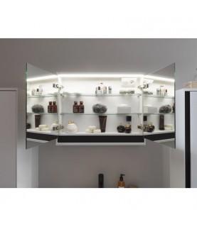 Oglinda cu dulap KolpaSan, Pandora, 110 cm, iluminare led, alb