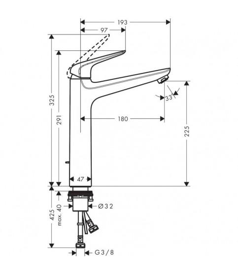 Baterie lavoar Hansgrohe, Novus, fara ventil, crom