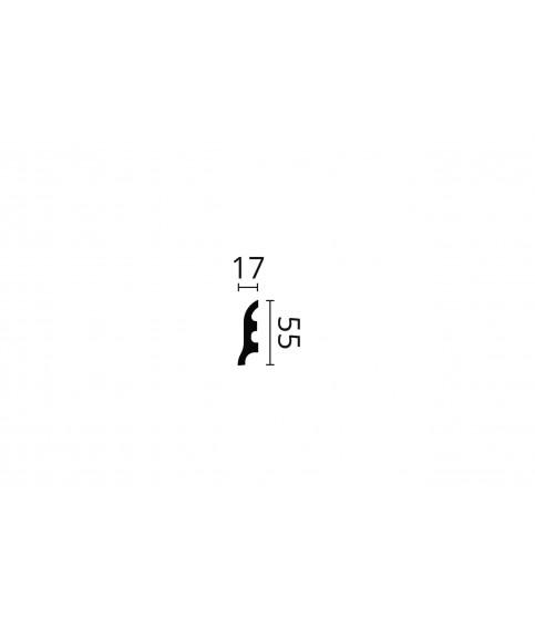 Plinta decorativa parchet alba polistiren dur Wallstyl FL3 55x17x2000