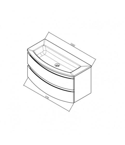 Set mobilier + lavoar KolpaSan, Iman, 100 cm, alb