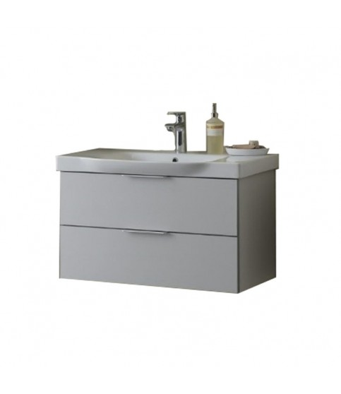 Set lavoar + mobilier KolpaSan, Lana II, 80 cm, gri deschis