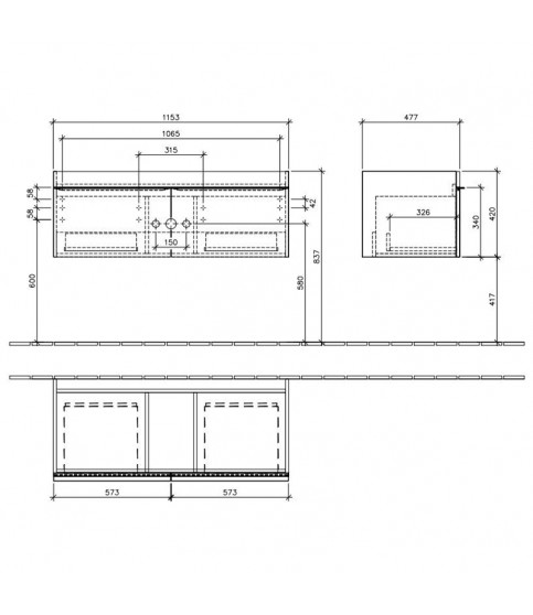 Set Villeroy & Boch, Venticello, 120 cm si lavoar mobilier