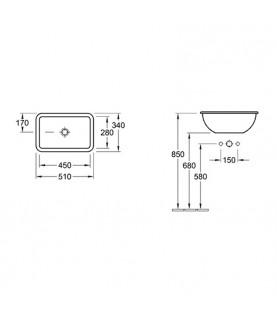 Lavoar incastrat Villeroy & Boch, Loop & Friends, 51 cm, alb alpin