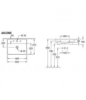Lavoar cu orificiu baterie si preaplin, Villeroy & Boch, Collaro, 60x47cm, Alb