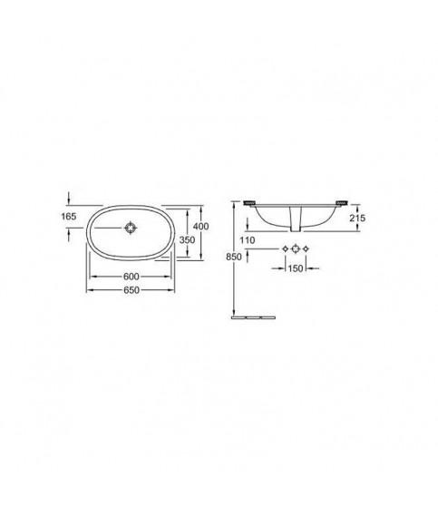 Lavoar sub blat Villeroy&Boch O Novo oval 60 cm alb alpin