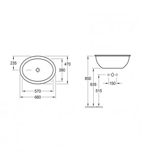 Lavoar incastrat Villeroy & Boch, Loop & Friends, 66 cm, oval, alb alpin