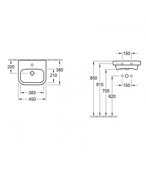 Lavoar suspendat Villeroy&Boch Architectura 45 cm alb alpin