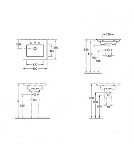 Lavoar suspendat Villeroy & Boch, Legato, dreptunghiular, 60 cm, alb alpin