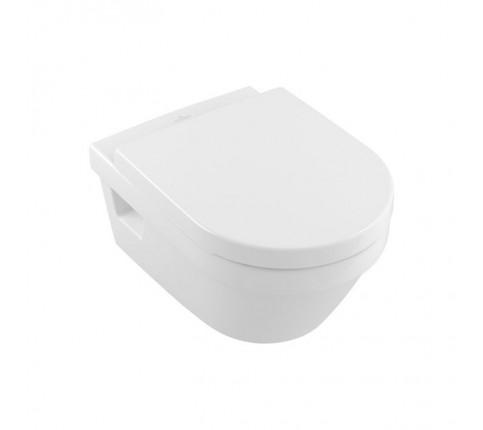 Set vas WC suspendat Villeroy & Boch, Architectura, cu capac soft close, quick release, alb alpin rotund, direct flush