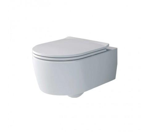Set vas WC Villeroy & Boch, Soul, suspendat, direct flush, cu capac soft close si quick release, alb