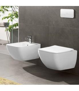 Set vas wc Villeroy & Boch model suspendat cu capac ultrasubtire soft close, direct flush