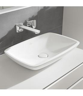Ventil ceramic Villeroy & Boch, pentru lavoar cu preaplin, push-open, alb