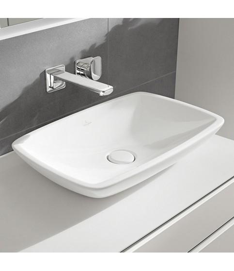 Ventil ceramic Villeroy&Boch pentru lavoar cu preaplin push-open alb